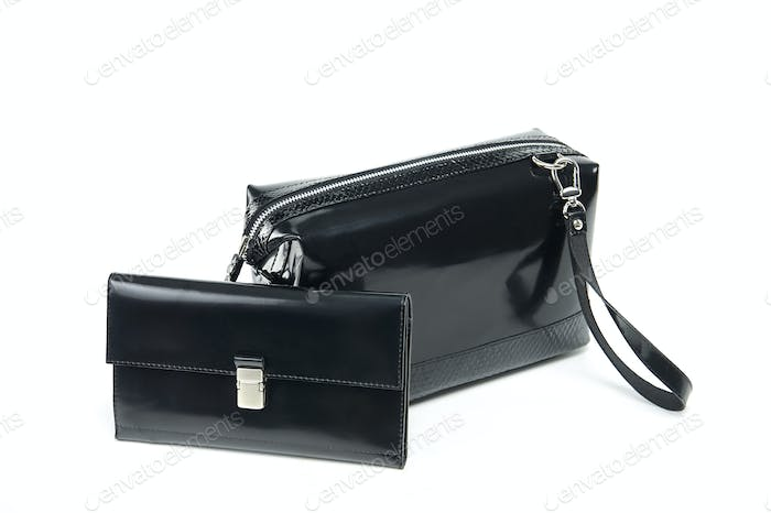 Glancy cosmetic bag and a wallet on the white background