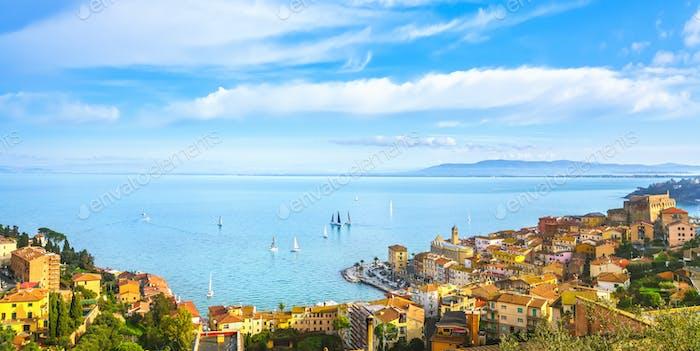 Porto Santo Stefano aerial view and regatta. Argentario, Tuscany, Italy