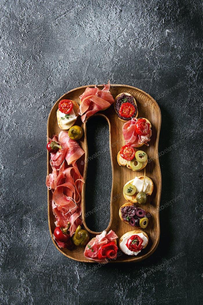 Tapas or bruschetta
