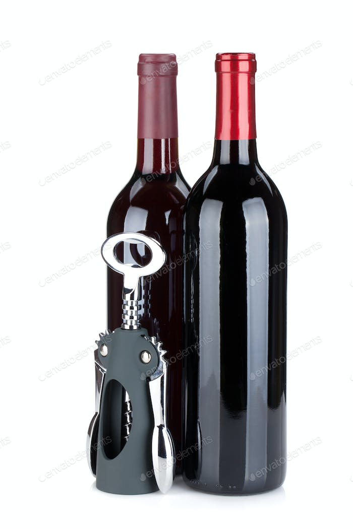 Two red wine bottles