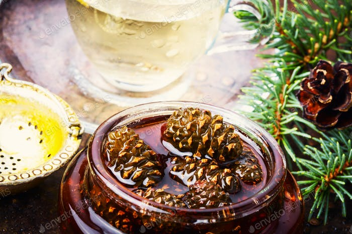 Jam from pine cones for tea