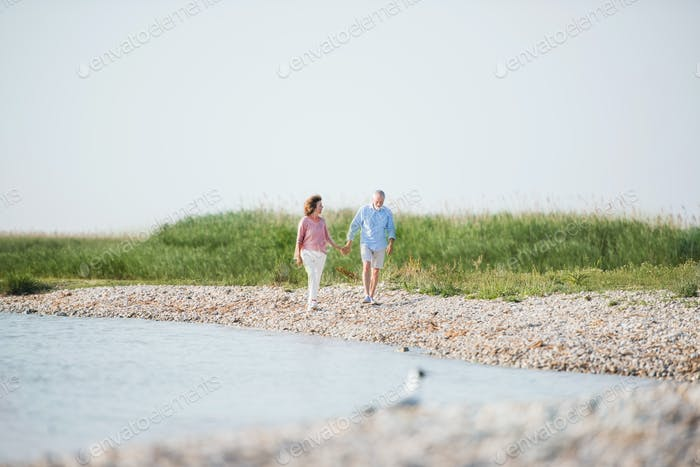 Senior couple on a holiday walking by the lake. Copy space