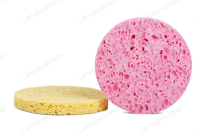 Pink and yellow cosmetic sponges