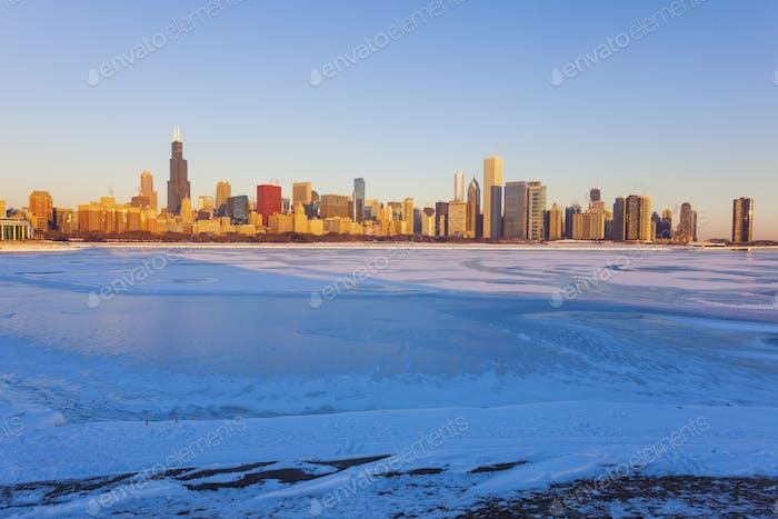 Winter in Chicago - skyline at sunrise