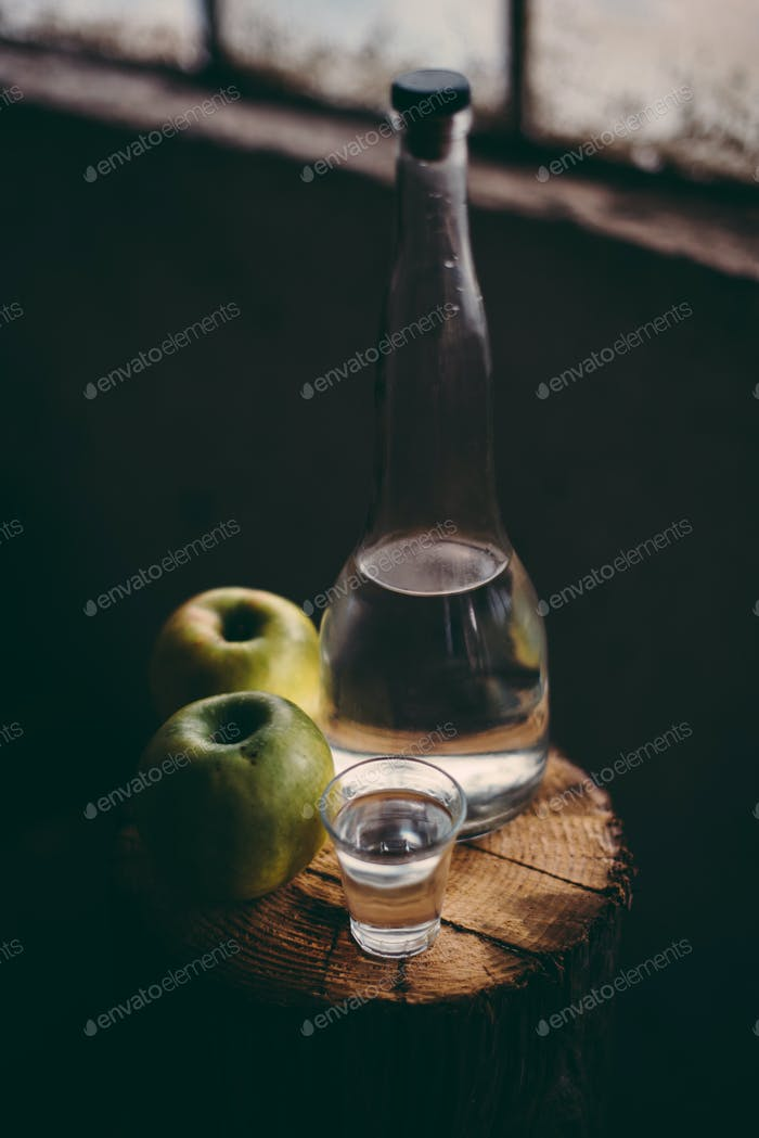 Apple brandy, rustic retro atmosphere