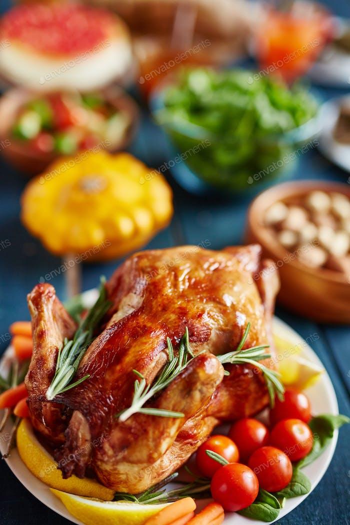 Golden Roasted Turkey on Thanksgiving Table