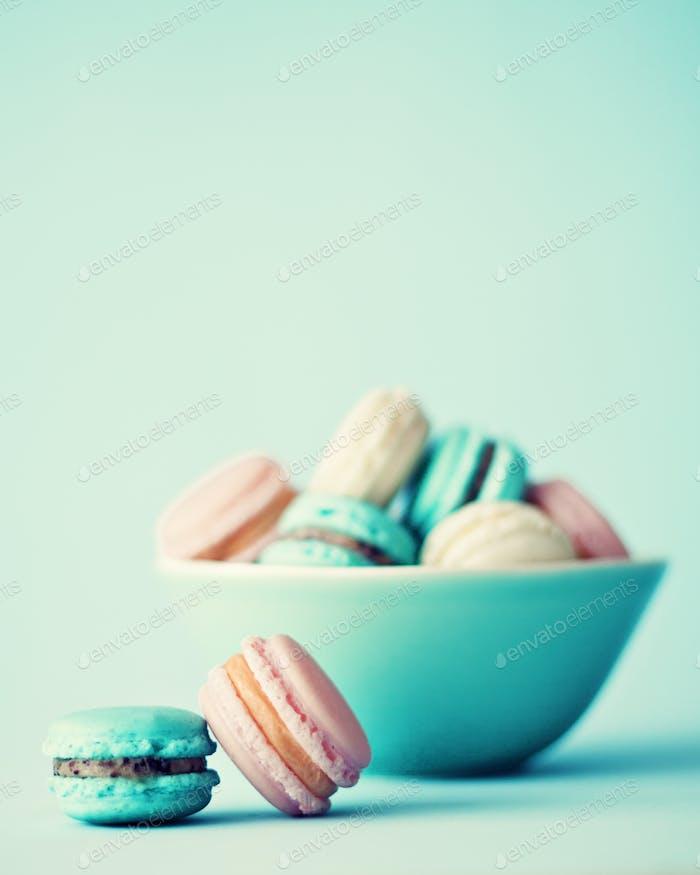 Pastel French macaroons