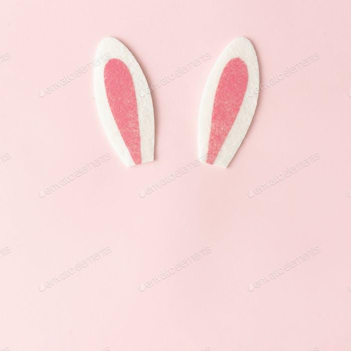 Kaninchenohren auf pastellrosa Hintergrund. Frohes Ostern minimales Konzept. Flache Liege.