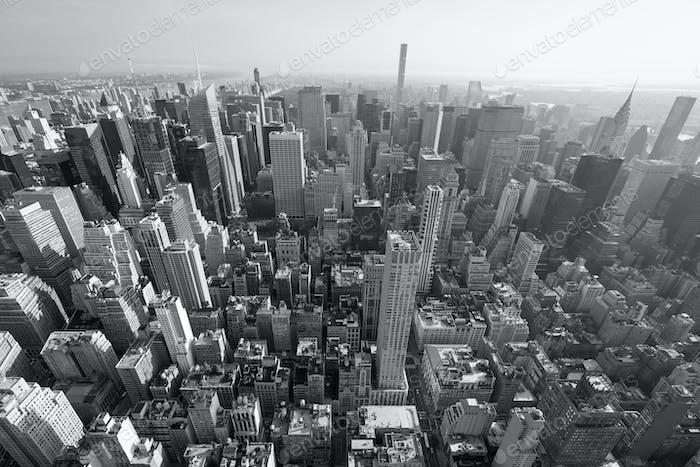 New York City Manhattan skyline, black and white aerial view