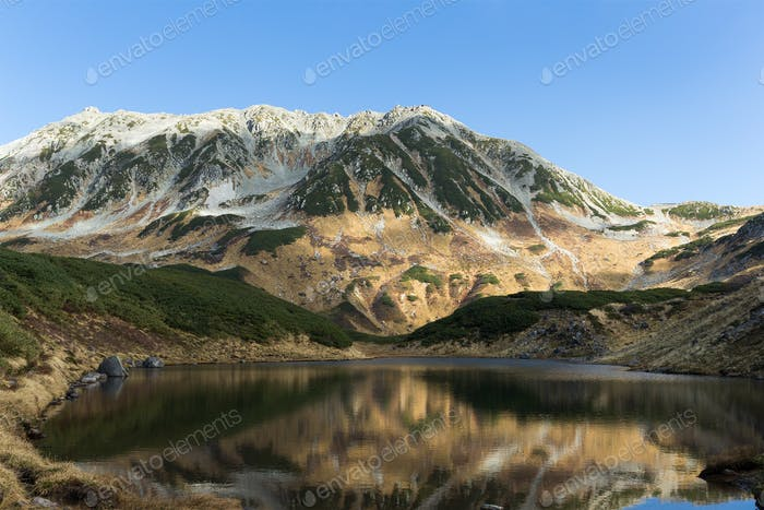 Mikuri Pond and reflection of mountain