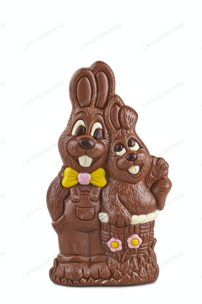 Easter couple of chocolate bunnies on white background