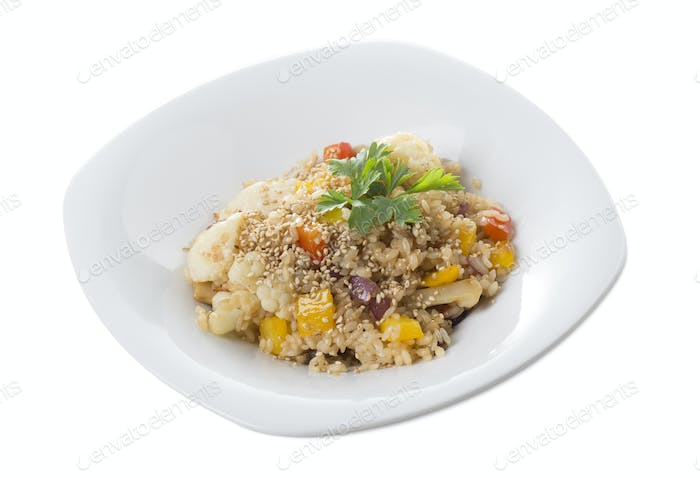 Rice with vegetables in japanese style.
