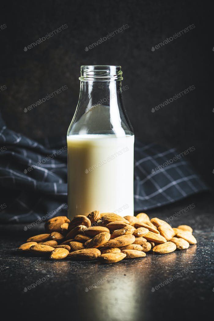 Almonds nuts and almond milk.