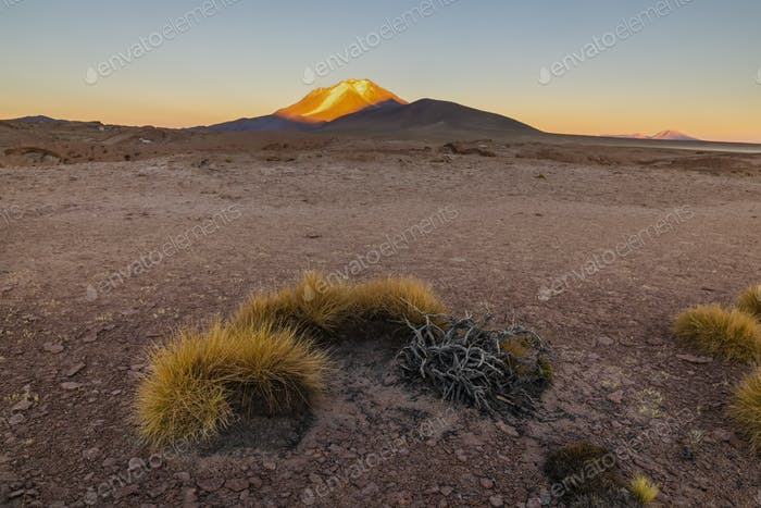 Ollague volcano, sunrise view, on the border between Bolivia and northern Chile