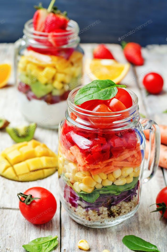 homemade rainbow salads with vegetables, quinoa, Greek yogurt an