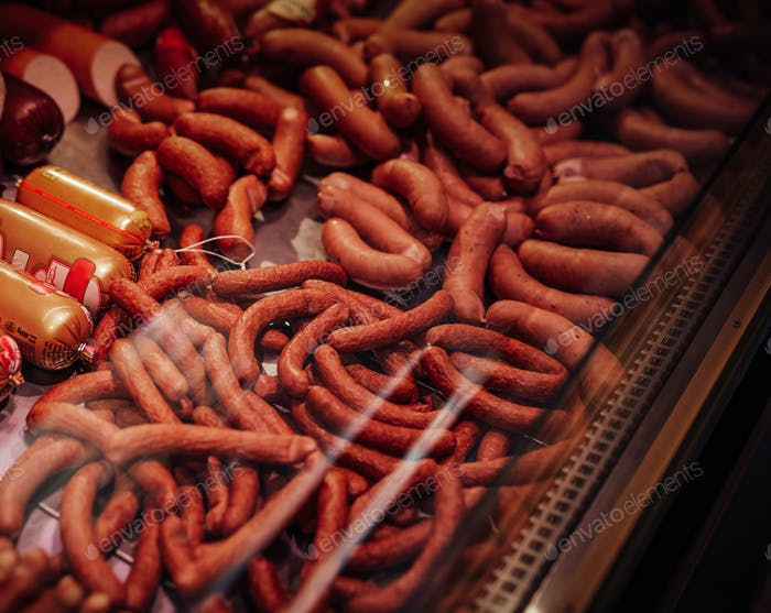 Many types of sausage products in the store