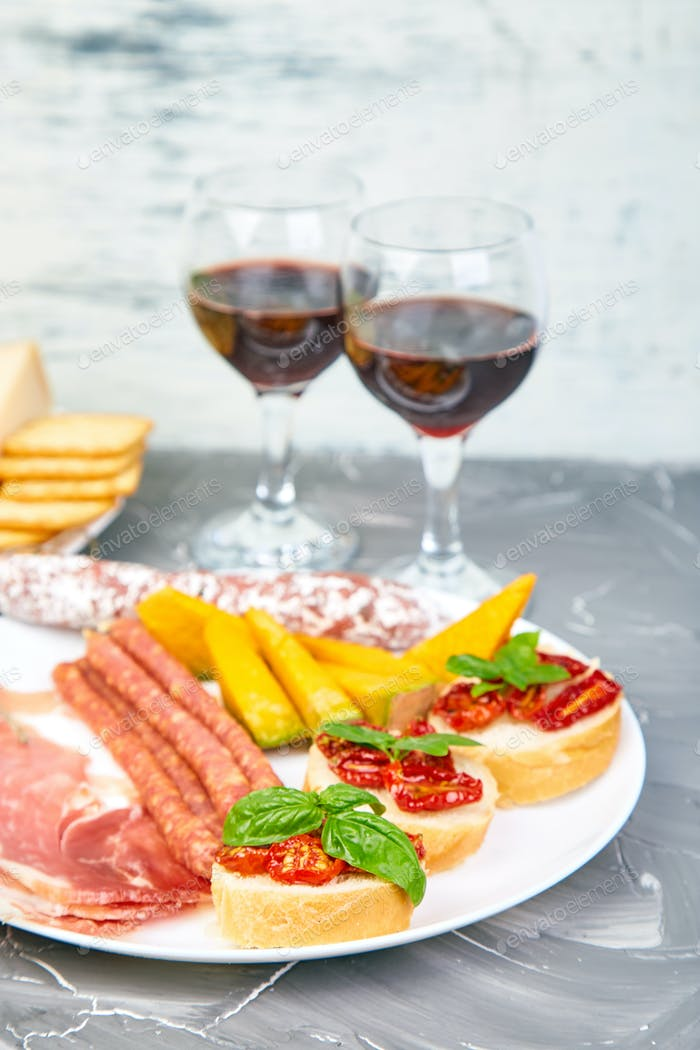 Italian antipasti wine snacks set. Italian food.
