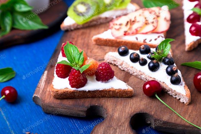 Fruit toast on wooden board