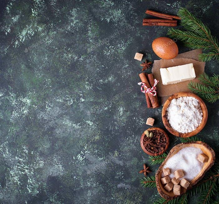 Ingredients for baking Christmas cookies.