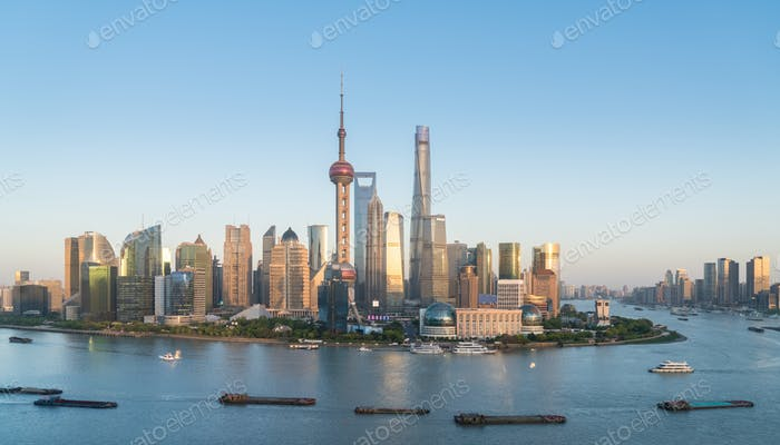 shanghai skyline in the setting sun after glow