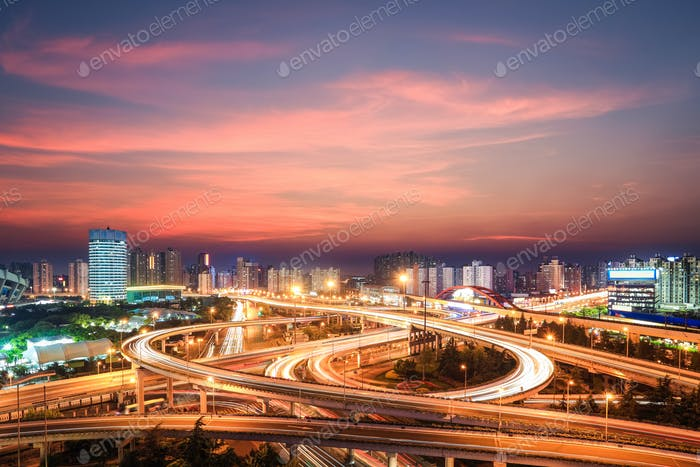 modern city interchange in nightfall