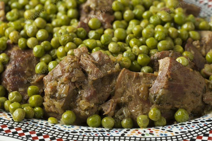 Traditional Moroccan dish with meat and peas