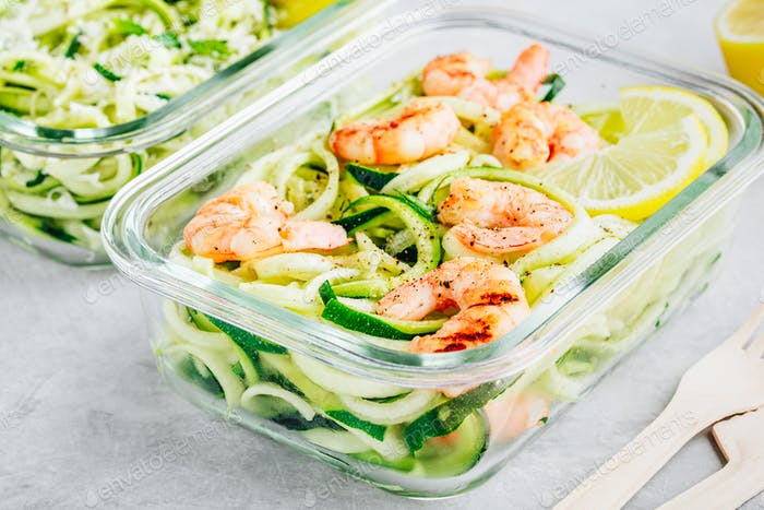 Meal prep lunch box containers Spiralized zucchini noodles pasta with shrimps