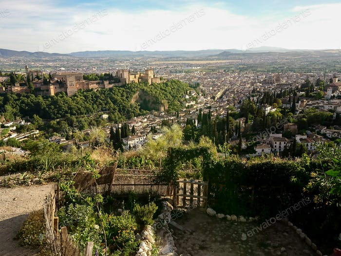 Views of the Alhambra from the streets of the Sacromonte neighborhood