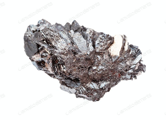 rough crystallin Hematite (iron ore) rock isolated