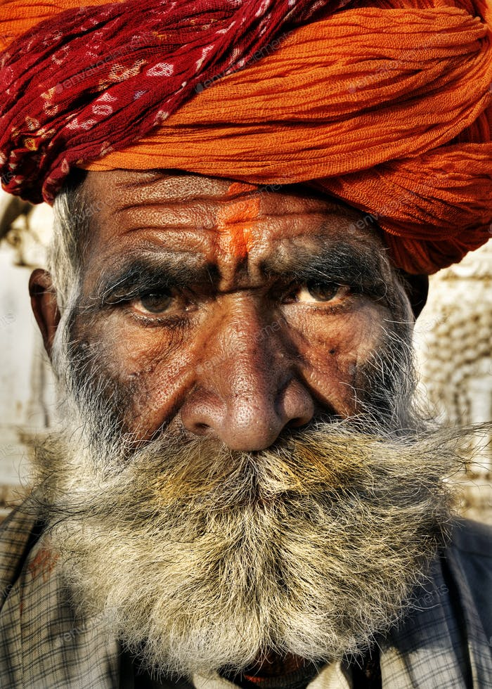 Indigenous Senior Indian Man Looking At The Camera