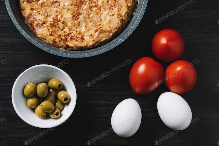 spanish omelette and olives on restaurant