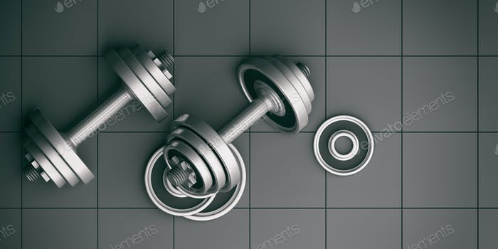 Dumbbells on the floor - tiles background. 3d illustration