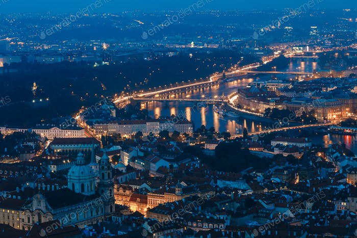 Night aerial view of Prague, Czech Republic