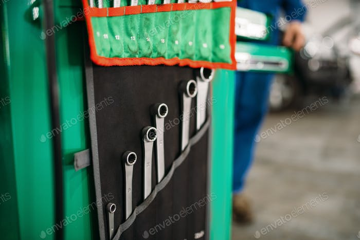 Car service tool box, spanners in the case closeup
