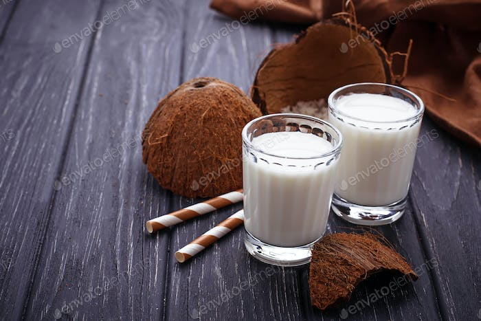 Glasses of coconut milk