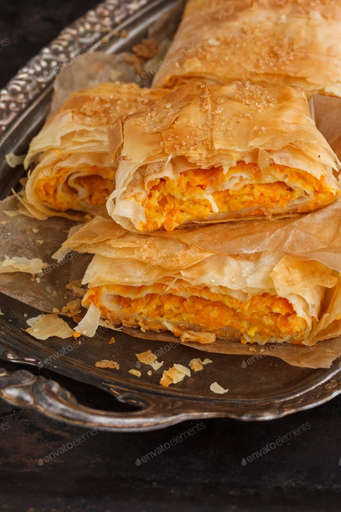 Strudel with pumpkin and cream cheese.