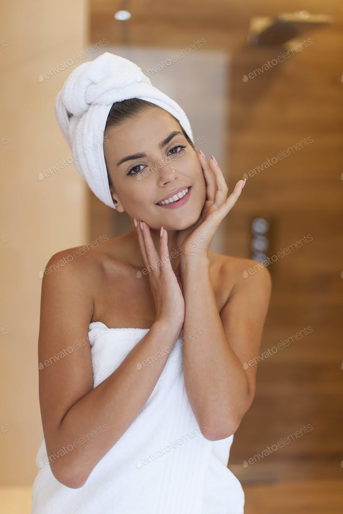 Beauty smiling woman after shower