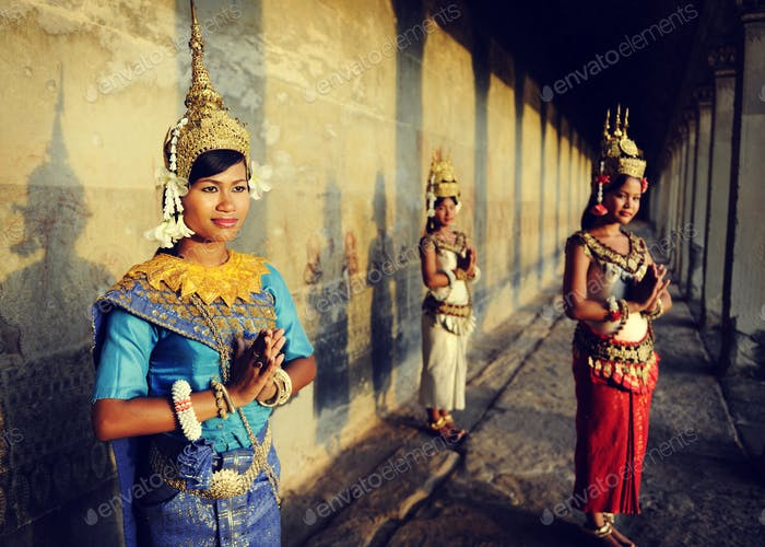 Cambodian Greeting Style Acient Angkor Wat Apsara Concept