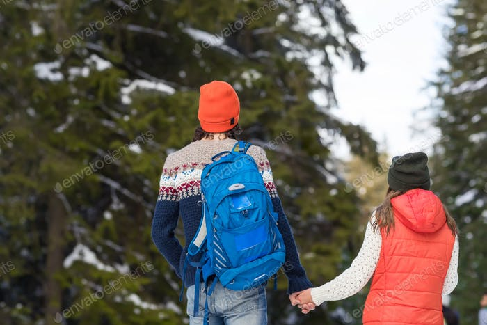 Romantic Couple Snow Forest Outdoor Winter Walk Man And Woman Holding Hands Back Rear View