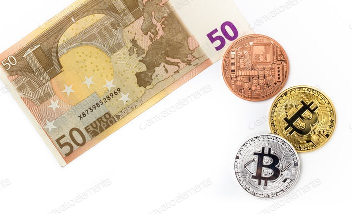 Image of bitcoins on euro bill