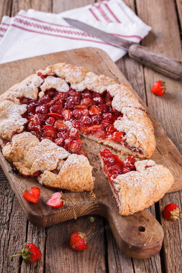 Homemade strawberry galette Sweet pastries