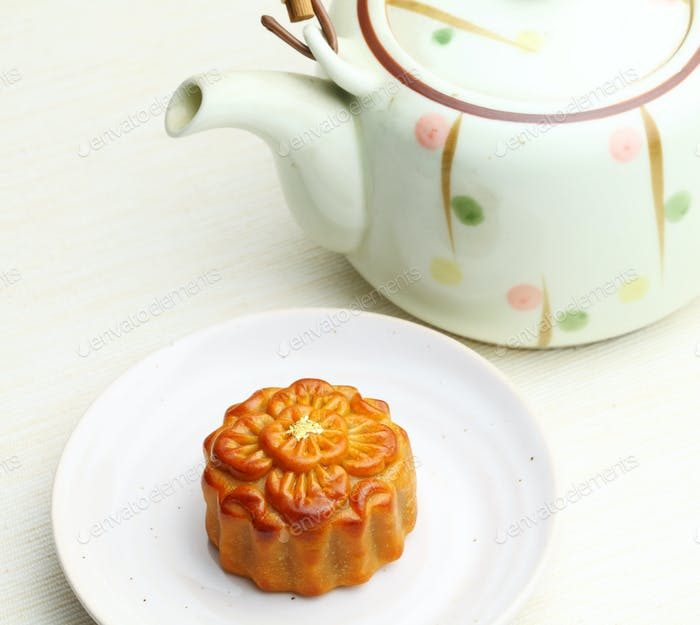 Chinese teapot with moon cake