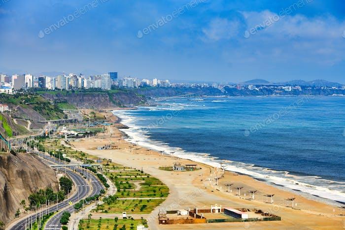 The Pacific Ocean coast of Lima Peru