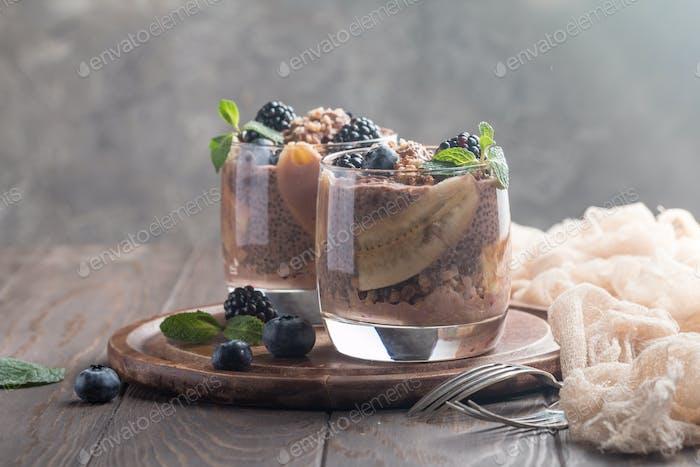chocolate chia pudding with banana