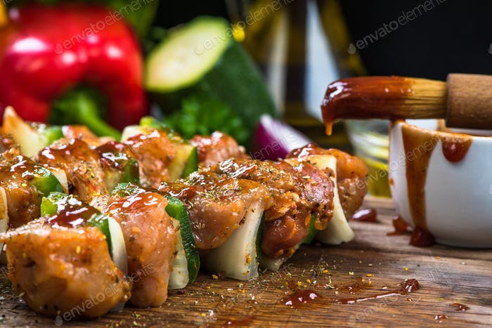 kebab skewers with meat and vegetables