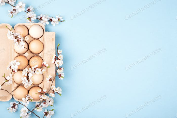 Eggs in Paper Box on Blue Background. Easter card.