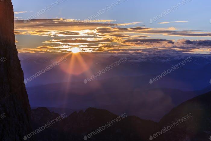 sunset in Italian Dolomites