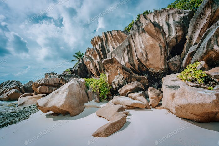 Stunning tropical island at Seychelles, giant granite rocks on the beach
