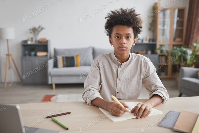 African-American Boy Studying at Home