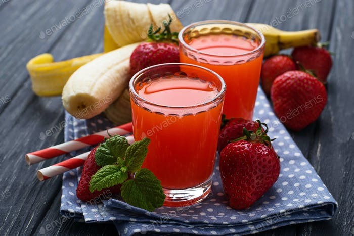 Sweet strawberry and banana juice